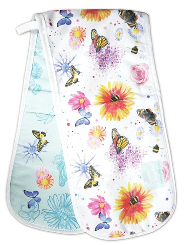 Flowers bees and butterflies gift  oven gloves Ceinwen Campbell The Arty penguin