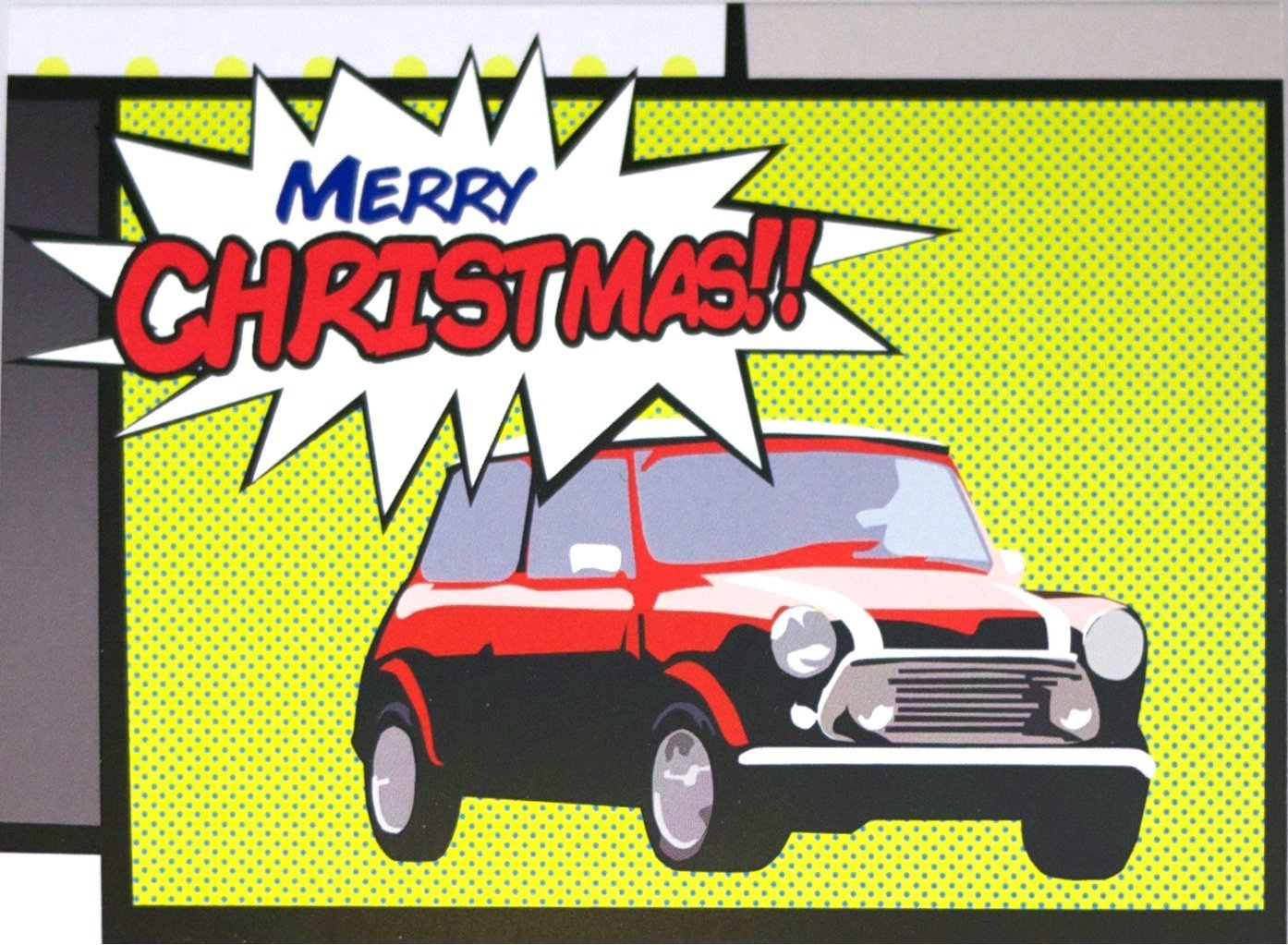 Mini Cooper classic car inspired pop art Christmas cards pack of 10 single design