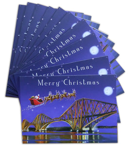 Santa Over the Forth Bridges Scottish Christmas Cards (pack of 10)