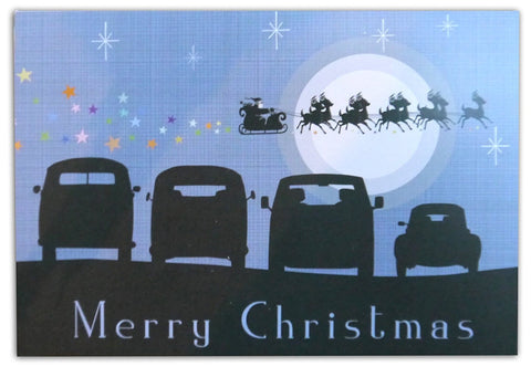 Campervan Christmas cards inspired by Split, Bay, T25 and Beetle in silhouette