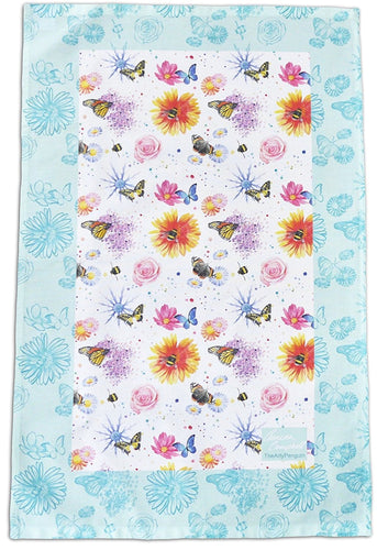 Flowers butterflies and bees gift tea towel