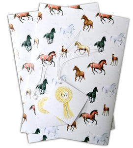 Horse gift wrap pack of two sheets and 2 gift tags