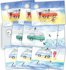 Camper van and pengiun inspired Christmas cards (trio); mixed pack of 10 T1, T2, T25