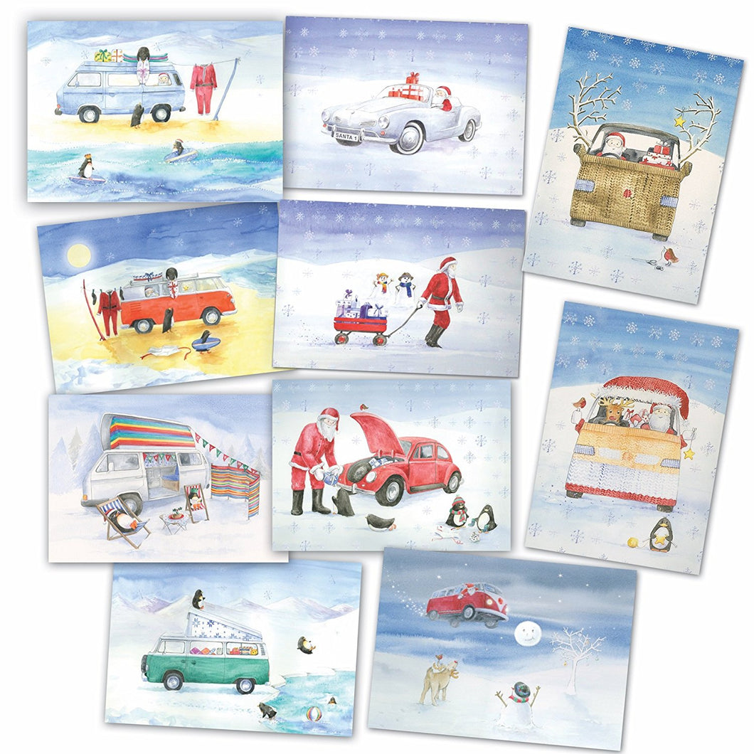Campervan beetle and Ghia Christmas cards by Ceinwen Campell and The Arty Penguin