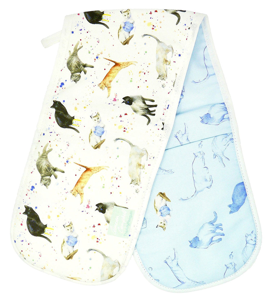 Cat and kittens double oven gloves by Ceinwen Campbell and The Arty Penguin
