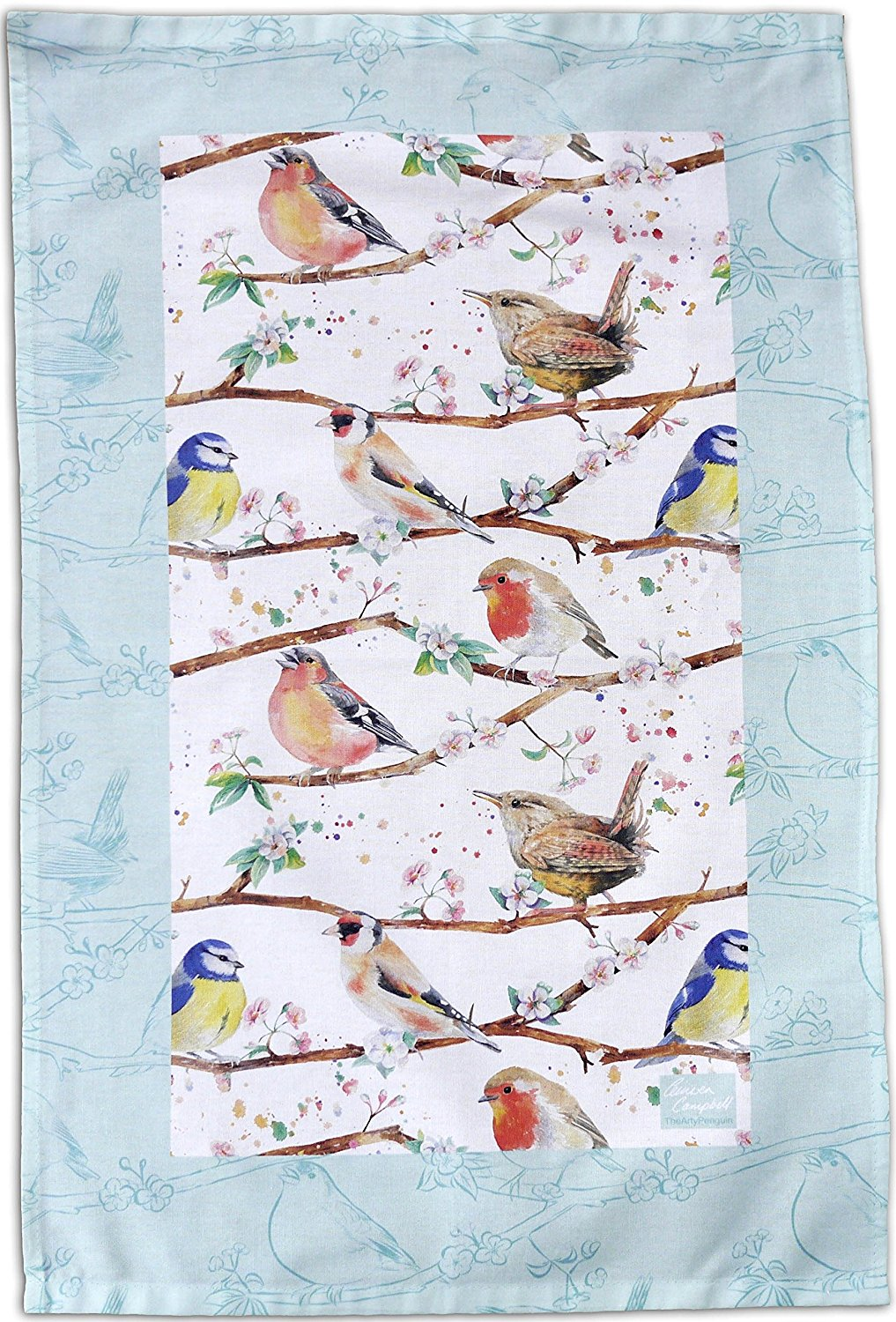 Garden birds bird  robin, wrens, chaffinch, blue tits, tea towel Ceinwen Campbell The arty Penguin