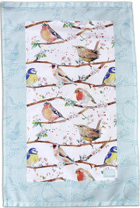 Garden birds robin, wrens, chaffinch, blue tits, tea towel Ceinwen Campbell The arty Penguin