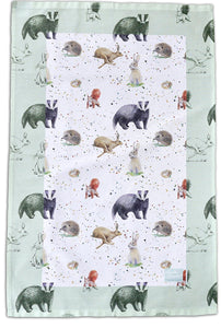 Country animals tea towel with illustrations (badger, hedgehog, red squirrel, hare, rabbit and dormouse ) by Ceinwen Campbell