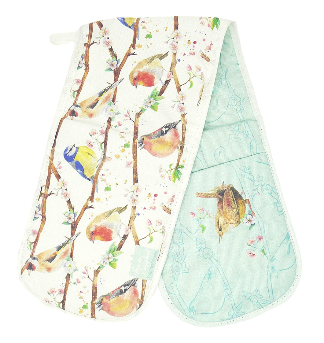 Garden birds robin wren blue tit chaffinch double oven gloves Ceinwen Campbell The Arty Penguin