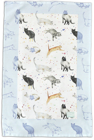 Cats and kittens CHristmas gift tea towel
