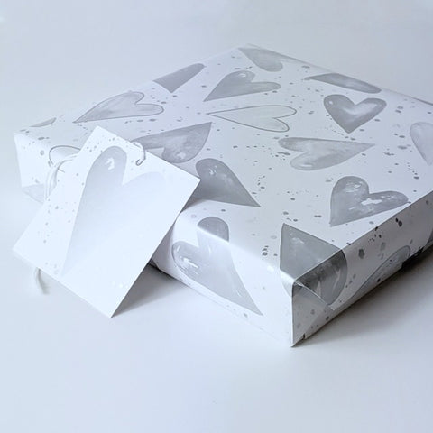 Silver hearts gift wrap great fro weddings and anniversaries