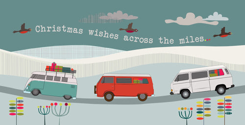 Campervan bay split and T25  CHristmas card by Ceinwen Campbell and The Arty Penguin