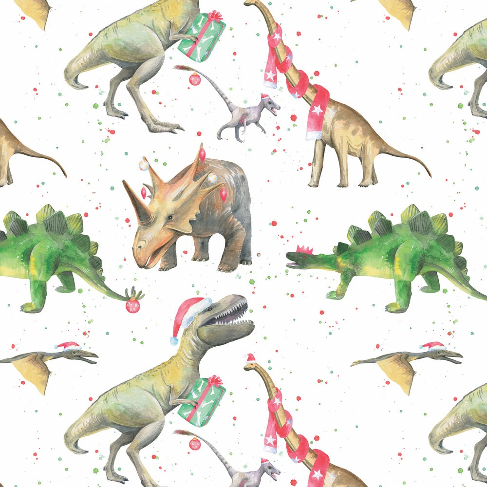 dinosaur Christmas gift wrapping paper  Ceinwen Campbell The Arty Penguin
