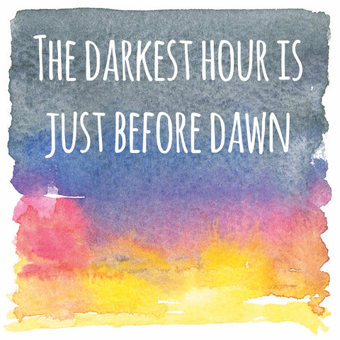 Darkest Hour Just before dawn sympathy card the arty penguin Ceinwen Campbell