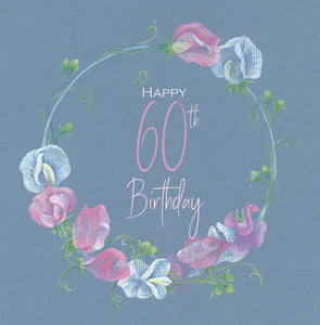 quality 60th birthday card with sweet peas in pastel pencil