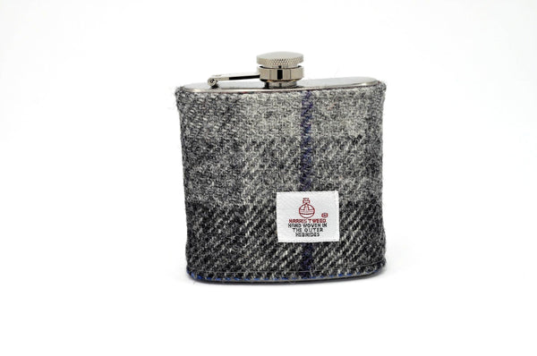 Harris Tweed Hip Flask grey monochrome with blue strips HT26 on its own