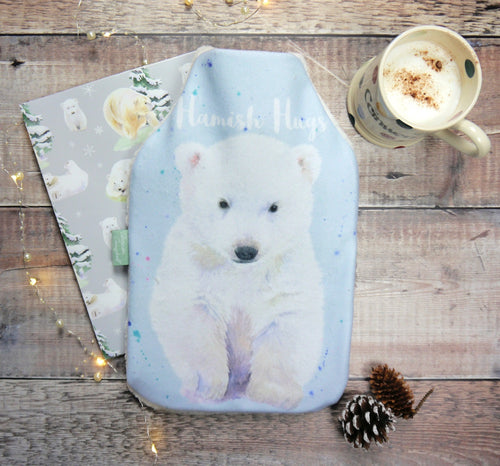 Hamish Scottish Polar bear cub hot water bottle Christmas present Ceinwen Campbell The Arty Penguin