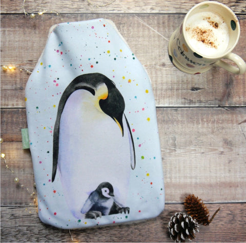 penguin and chick hot water bottle Christmas present