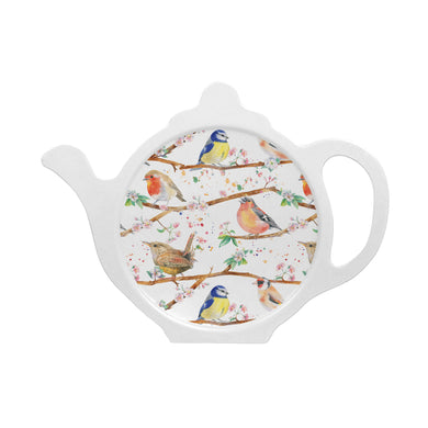 birds robin wren chaffinch blue tit teabag tidy melamine made in Britain by Ceinwen Campbell and The Arty Penguin