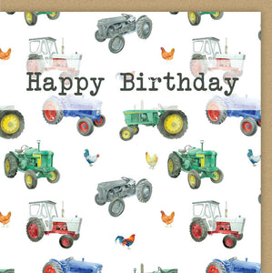 Tractor & Chicken Birthday Card