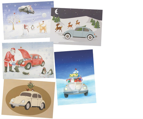 beetle car christmas cards