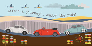 "VW Beetle inspired ""Life's a journey...enjoy the ride!"" Greeting Card"