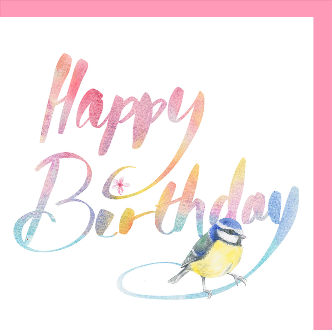 Blue tit British garden bird birthday card