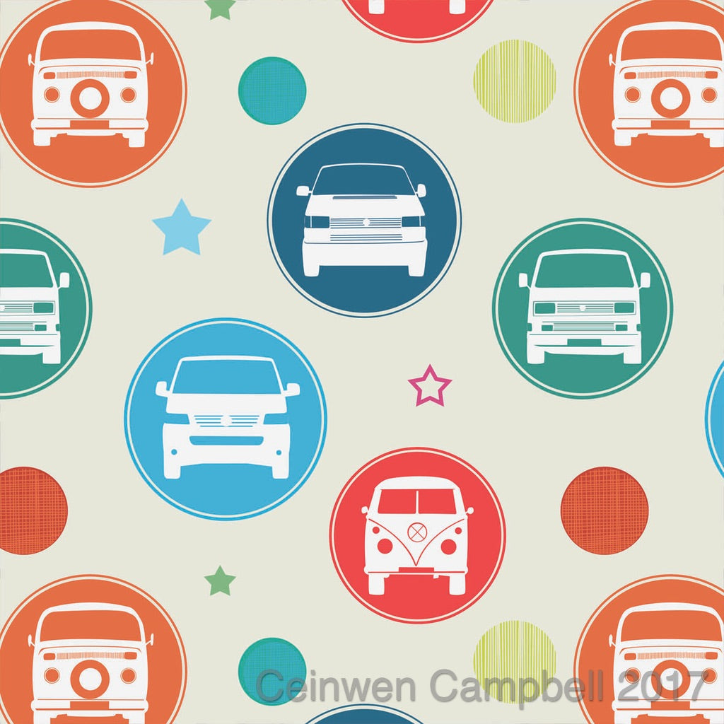 Campervan gift wrapping paper by Ceinwen Campbell and The Arty Penguin