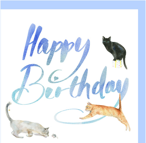 Cat and kitten birthday card by Ceinwen Campbell The Arty Penguin