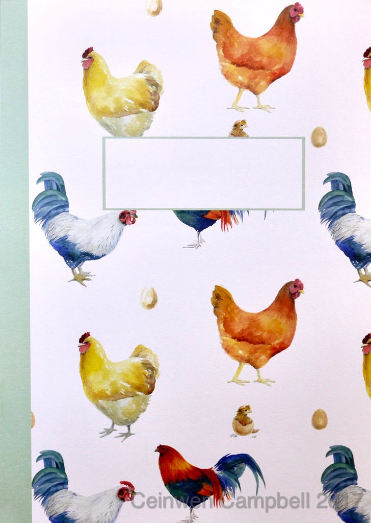Chicken chick hen egg cockerel jotter notepad jotter by Ceinwen Campbell and thearty penguin