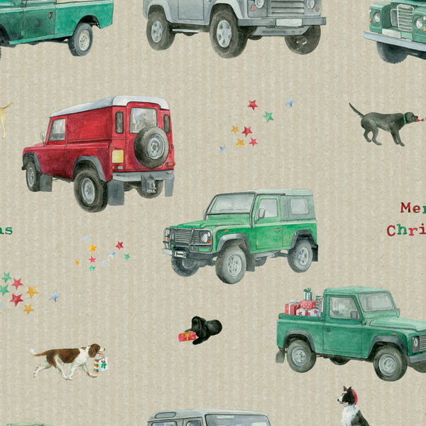 Christmas 4 x 4 off roader gift wrapping paper by Ceinwen Campbell and The Arty Penguin