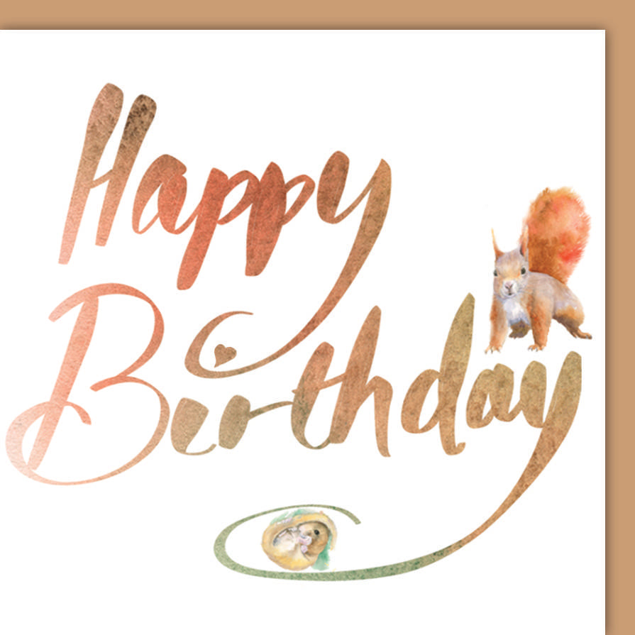 country animal birthday card squirrel and doremouse