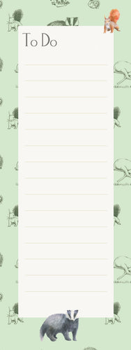 Badger, squirrel, hare, rabbit memo pad shopping list notepad
