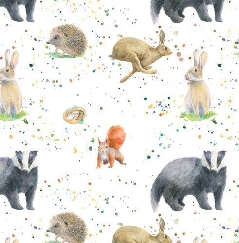 Badger squirrel hare rabbit hedgehog dormouse country animal gift wrapping paper