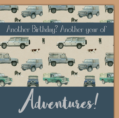 Off roader 4 x 4 birthday card by Ceinwen Campbell and the The Arty Penguin