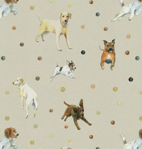 Dog gift wrapping featuring  Golden Retriever, Jack Russell, Labrador, Springer Spaniel and Staffordshire Terrier dogs Ceinwen Campbell The Arty Penguin