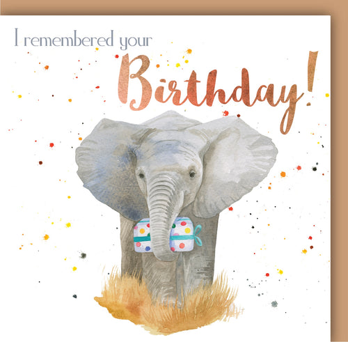 Elephant 'I remembered' Birthday Card