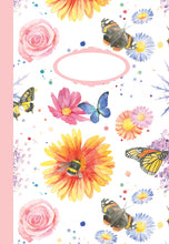 flower bees and butterflies jotter Ceinwen Campbell The Arty Penguin
