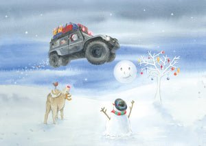 Flying 4 x 4 defender off roader Christmas card by Ceinwen Campbell and The Arty Penguin