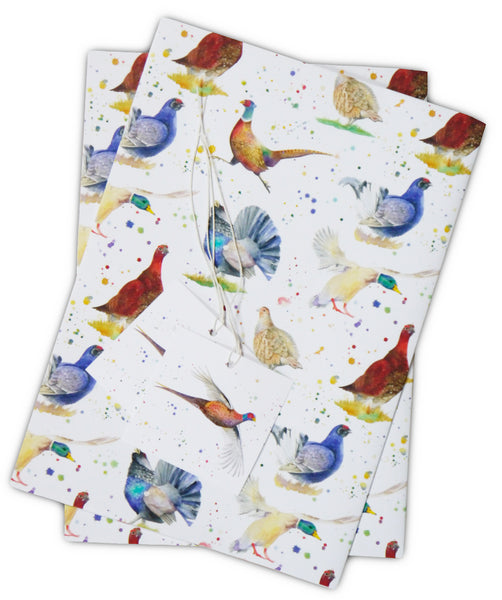 Country birds pheasant partridge grouse capercaillie gift wrap and tags