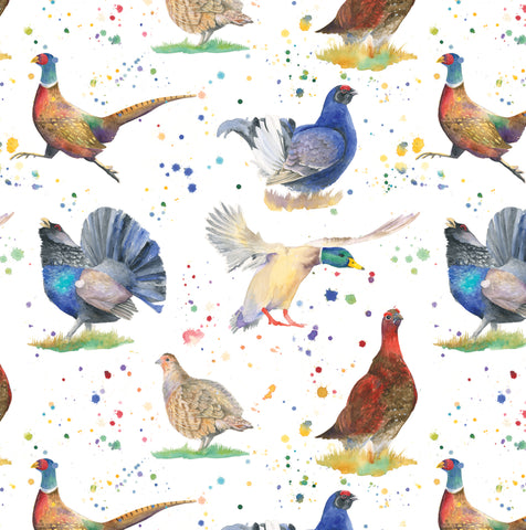 Pheasant Mallard duck capercaillie grouse partridge game birds gift wrapping paper Ceinwen Campbell The Arty Penguin
