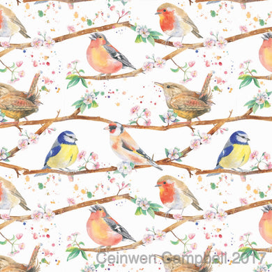 Garden birds robin blue tit wren chaffinch cherry blossom gift wrapping Ceinwen Campbell The Arty Penguin