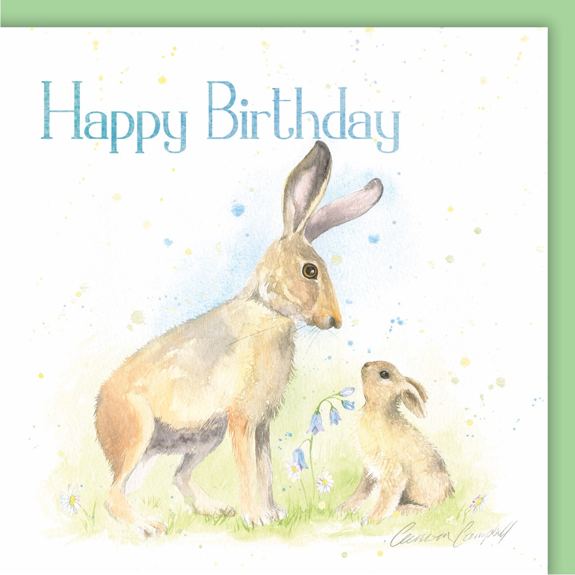 Hare hares baby birthday card Ceinwen Campbell the arty Penguin