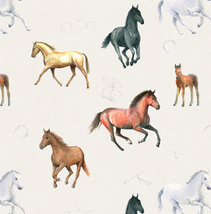Horses, horse and foal gift wrap by Ceinwen Campbell and The Atry Penguin