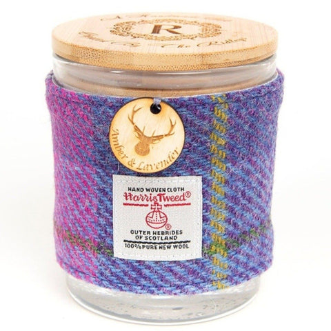 Amber and Lavender Soy Candle with Harris Tweed Sleeve