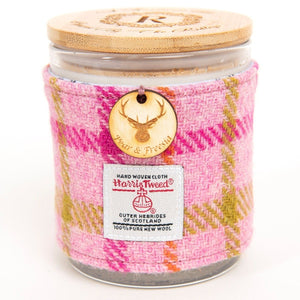 Pear and Freesia Soy Candle with Harris Tweed Sleeve