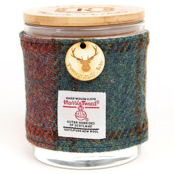 Pomegranate Noir Soy Candle with Harris Tweed Sleeve