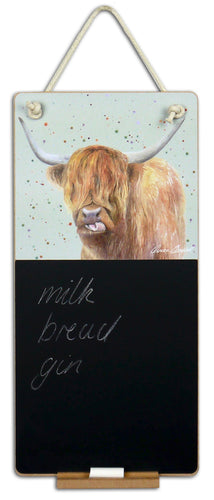Highland cow coo scottish gift chalkboard Ceinwen Campbell The Arty Penguin