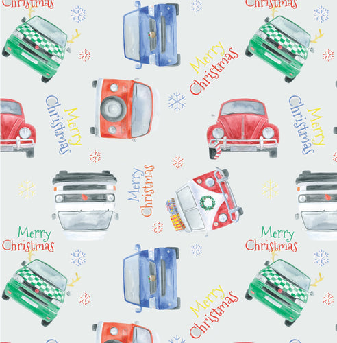 Christmas camper van and beetle gift wrapping paper by Ceinwen Campbell and The Arty Penguin