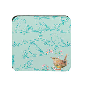 Garden birds wren coaster Ceinwen Campbell The Arty Penguin